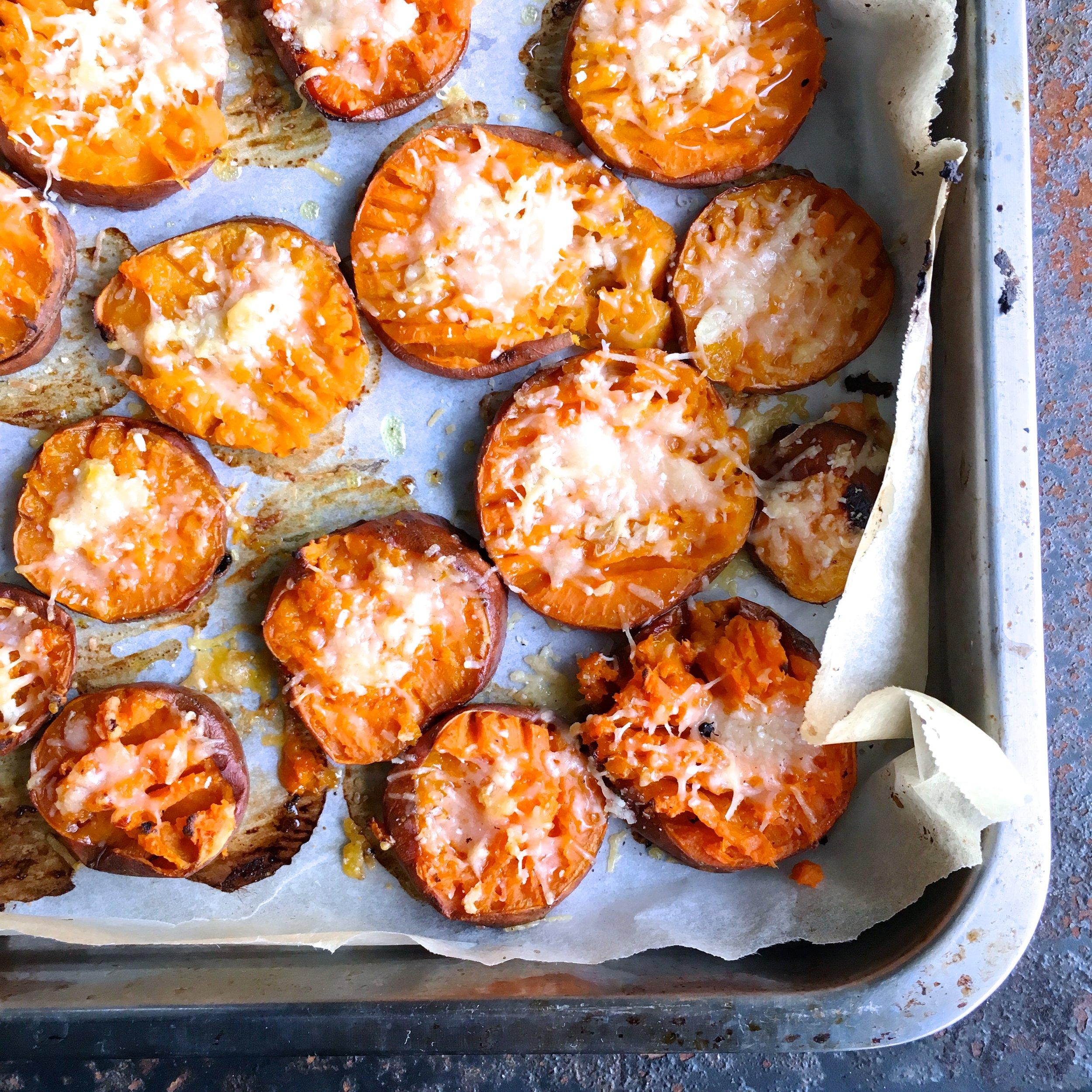 Smashed sweet potato garlic bites