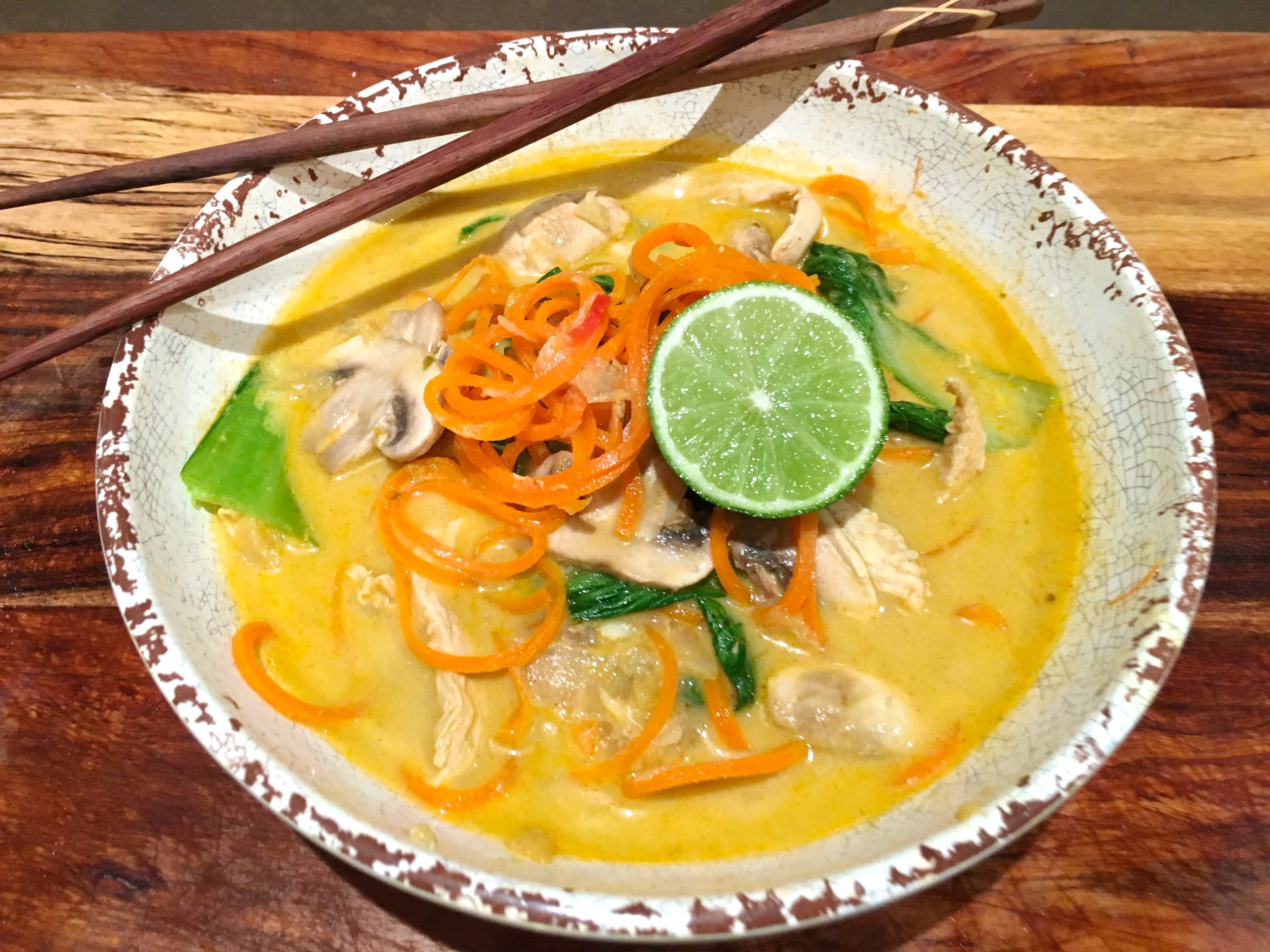 Healthy vegan Laksa Recipe with Carrot 'Noodles'