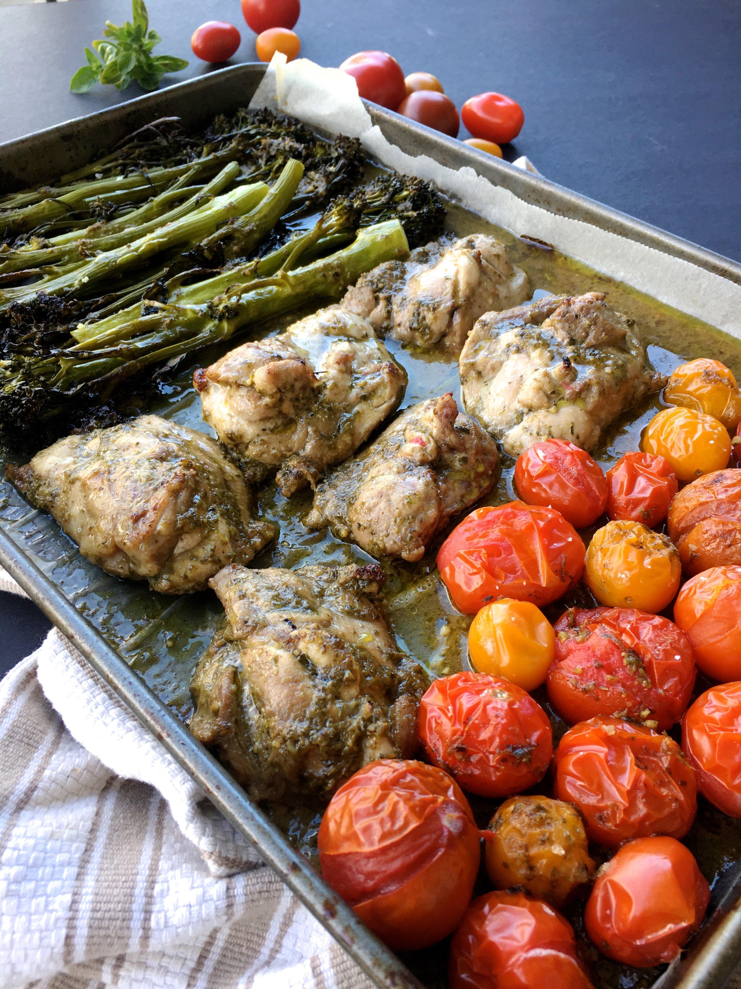 Healthy One-tray Balsamic Pesto Chicken recipe broccolini.jpg