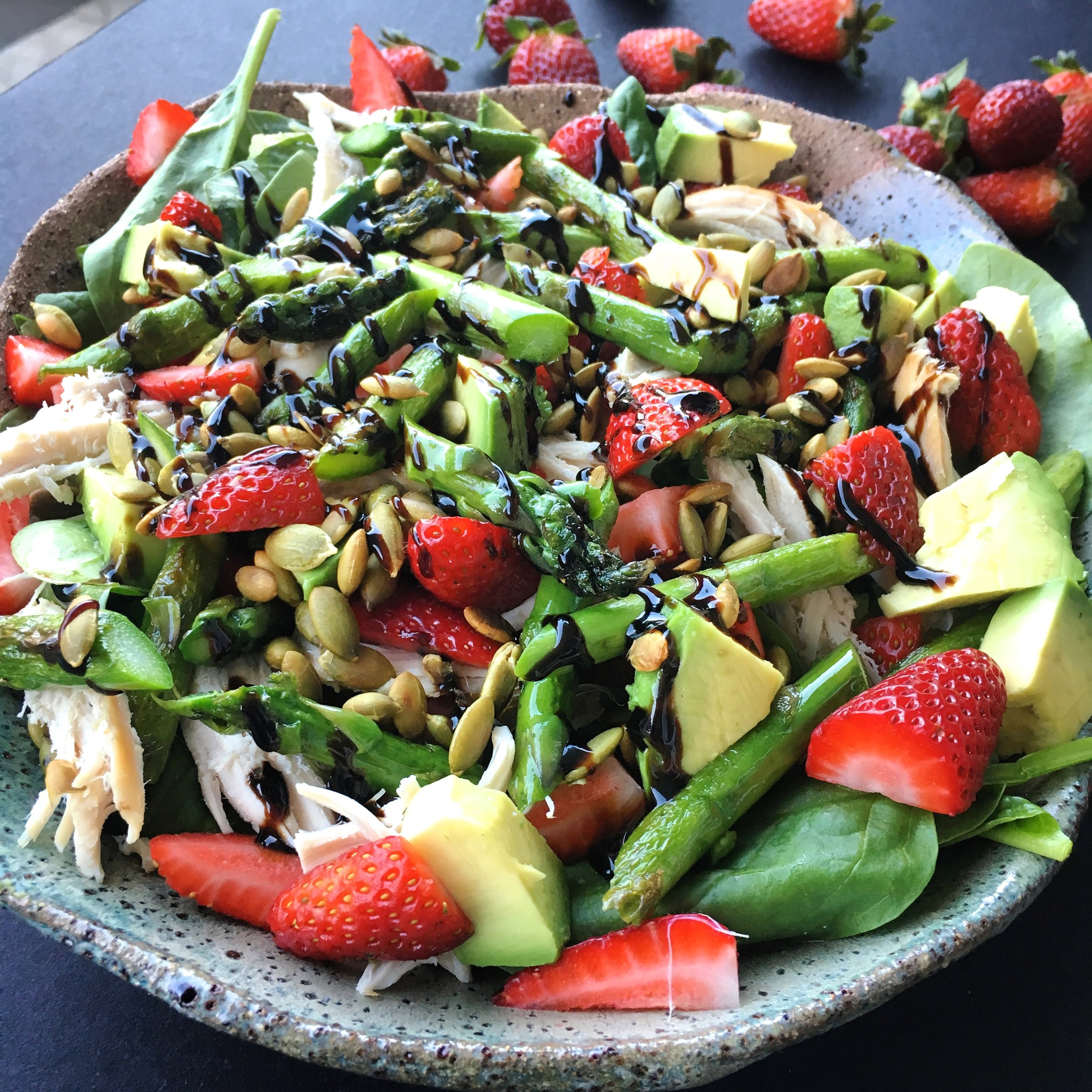 Click the image for recipe: Chicken Salad with Strawberries + Balsamic dressing.