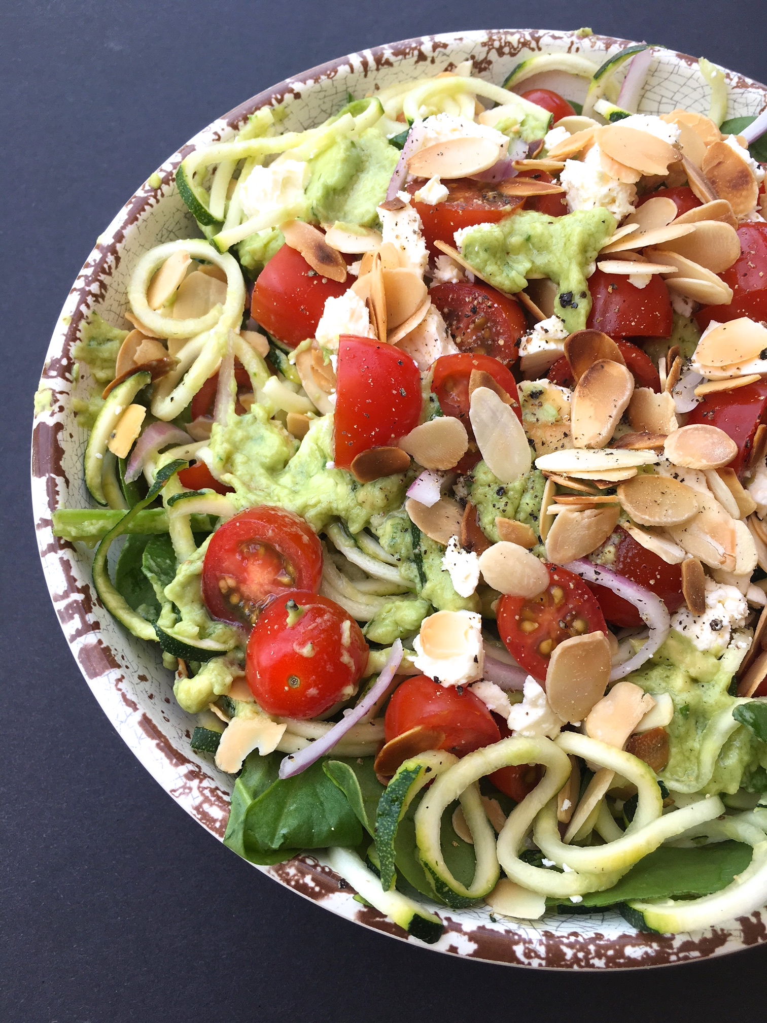 Zucchini Noodle Salad with Creamy Avocado Dressing