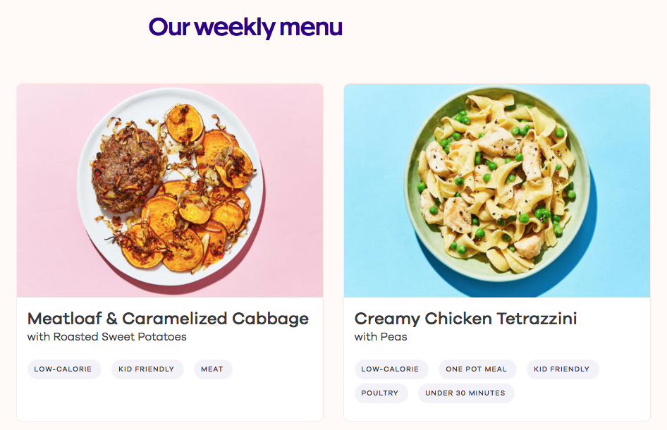 An example of the options from Dinnerly's menu.