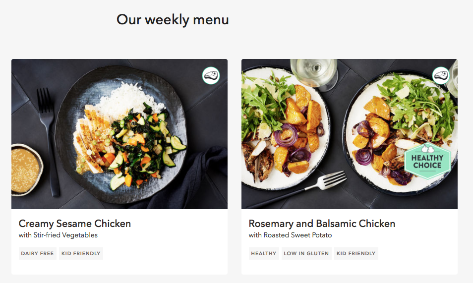 An example of the menu options from Marley Spoon. Note the 'healthy choice' logo making it a bit easier to eat well.