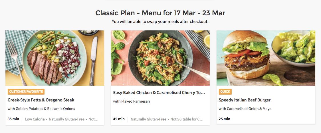 An example of the 'Classic' menu at HelloFresh.