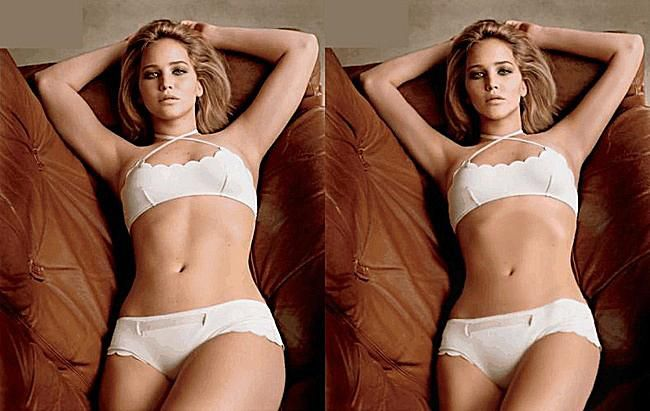 Jennifer Lawerence before and after photoshop. That's just another reason why I have a strict no photoshop policy.