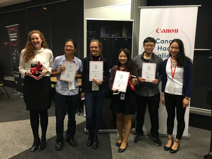 #TeamFlash delivered the winning pitch. Pictured from left to right: Emily Sisson, University of New South Wales; Orange Kao, Macquarie University; Miranda Clarke, University of Wollongong; Jiaru Han, Macquarie University; Mike Li, team coach and Canon senior engineer; Rebecca Yan, University of Sydney.