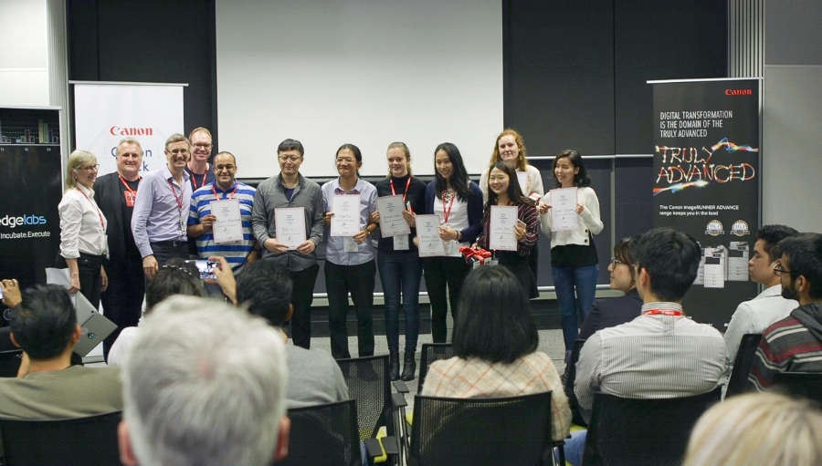 Pictured with the judges and winners #TeamFlash, students and graduates who stood out at the Canon Hack Challenge for their leadership, contribution and overall performance received a Certificate of Recognition.
