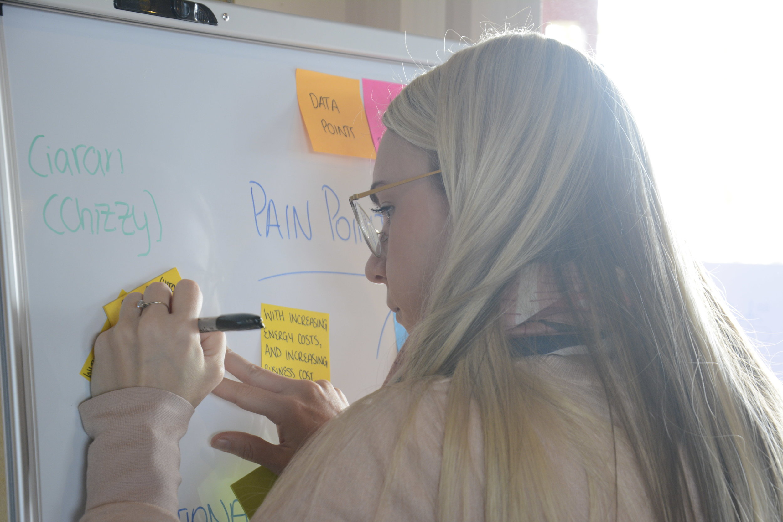 Our teams rifled through questions, answers and sticky notes as they brainstormed their problem statements