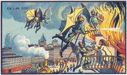 A French postcard from 1910 in which the artist tried imagining Paris firefighters in the year 200