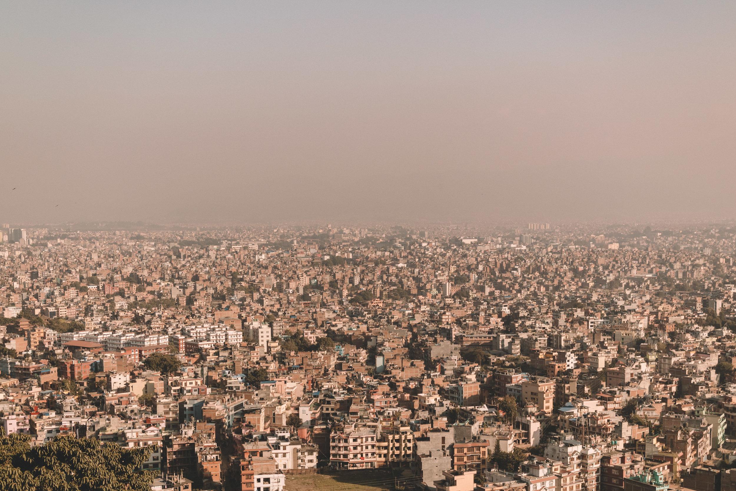 Kathmandu, Nepal - Kathmandu, looking outward from Swayambhunath Temple.