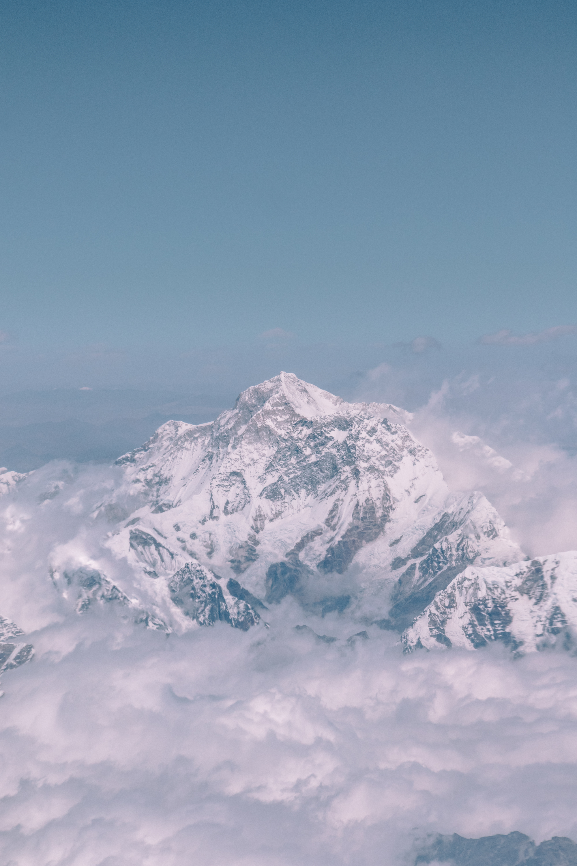 Everest, Himalayas - Mt. Everest, above the cloud line. The Himalayan mountain range between Nepal and Tibet.