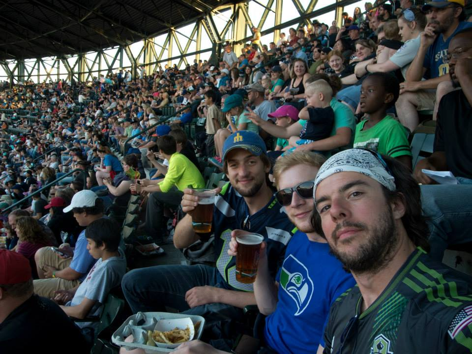 Amsterdam's 12th Man at a Mariners game in Seattle.