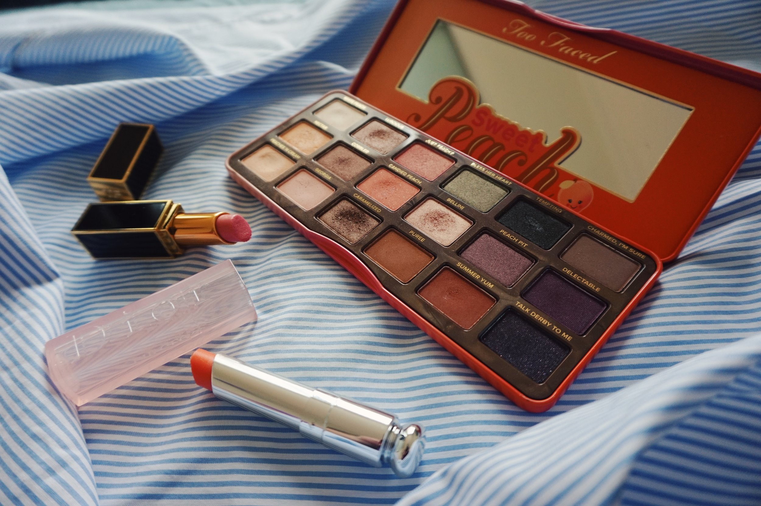 too faced sweet peach eyeshadow palette dior lipglow tom ford smitten