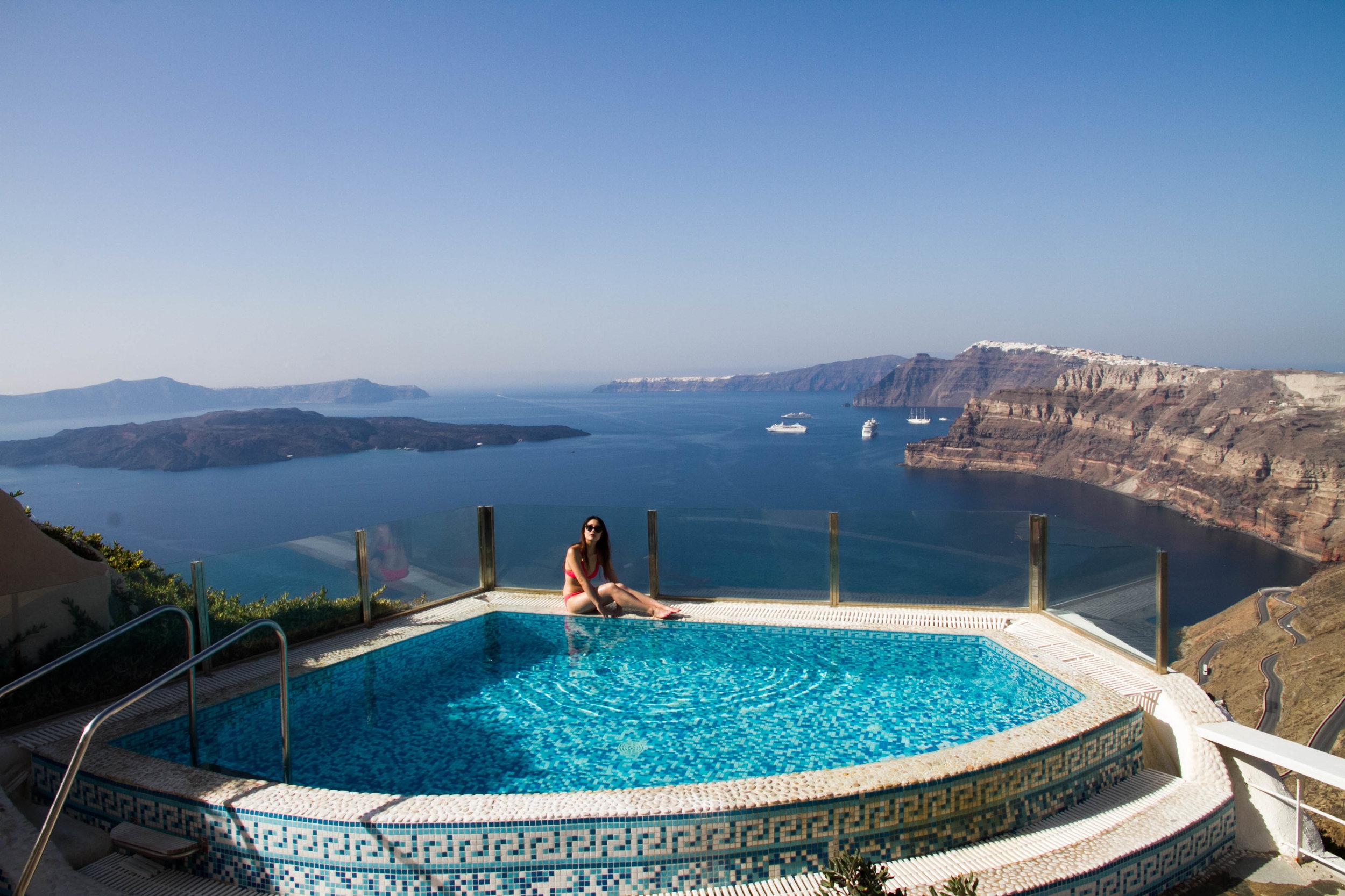 santorini swimming pool view