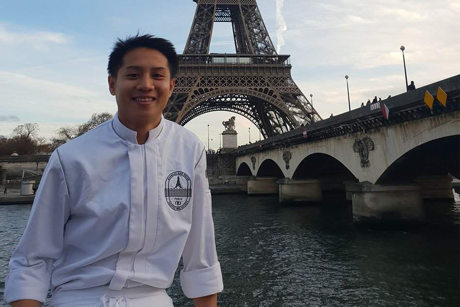 James Diño is a chef working in Chef Alain Ducasse's Ducasse sur Seine in France -