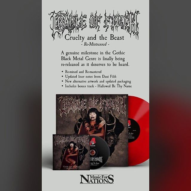 So the Cruelty and the Beast album I remixed from the original tapes is finally coming out in November. Glad it's seeing the light of day - I hope everyone likes it. It was a brutal job! #cradleoffilth #crueltyremistressed #crueltyandthebeast #musicfornations #danifilth #remix #symphonicblackmetal #threedecadesofdepravity #heavymetal #melodicblackmetal #vinyl