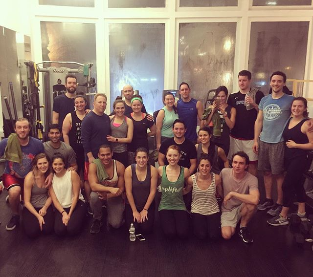 SQUAD! All the feels were felt tonight @upliftstudios. Words can't describe the fun and gratitude at getting to workout with your closest peeps and their bae. #nycfitness #fitfam #trainerlife