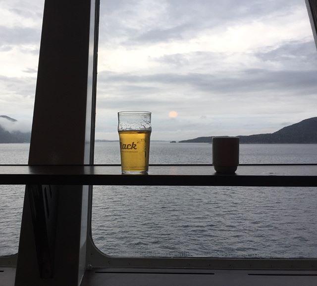 On board of Hurtigruten MS Nordkapp savoring the most expensive beer on the planet. Somewhere near #molde between #ålesund and #kristiansund #norway #norge #msnordkapp #hurtigruten #upperdeck #mack #beer #ølbryggeri #nordnorskstolthet #midfjorden