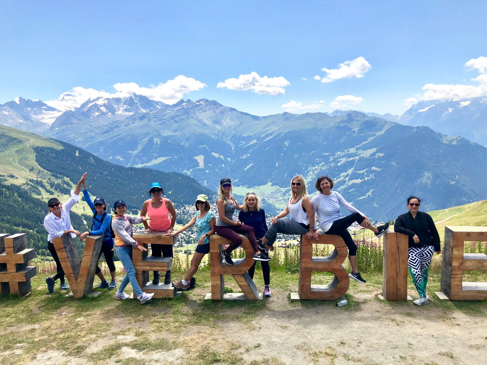 Most of the Exotic Yoga Retreats team out on a hike in Verbier!