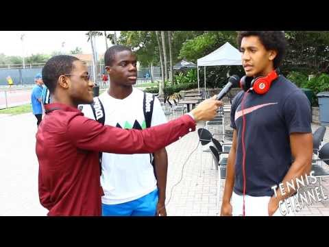 Michael Mmoh (far right) and his close friend as well as doubles partner Francis Tiafoe (middle) speaking to reporter while rocking his red Beats by Dre headphones. Photo by: Tennis Channel