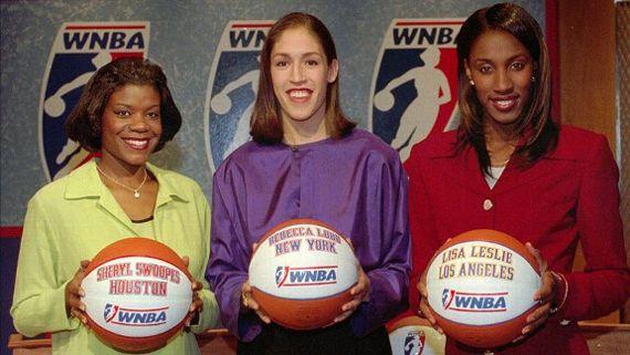 Sheryl Swoopes, Rebecca Lobo, and Lisa Leslie introduce WNBA leaguge. AP Photo/Bill Kostroun