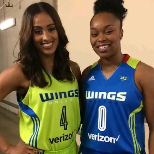 Skylar Diggins and Odyssey Sims in new Dallas Wings uniform. Photo/Mavs Money Ball