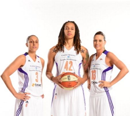Diana Taurasi, Brittney Griner, and Penny Taylor. Getty Images/ Barry Gossage