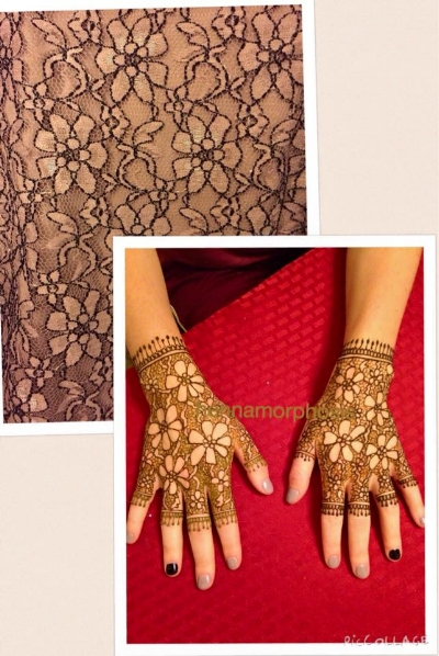'Gloves' to match lace dress (closeup of dress at top)