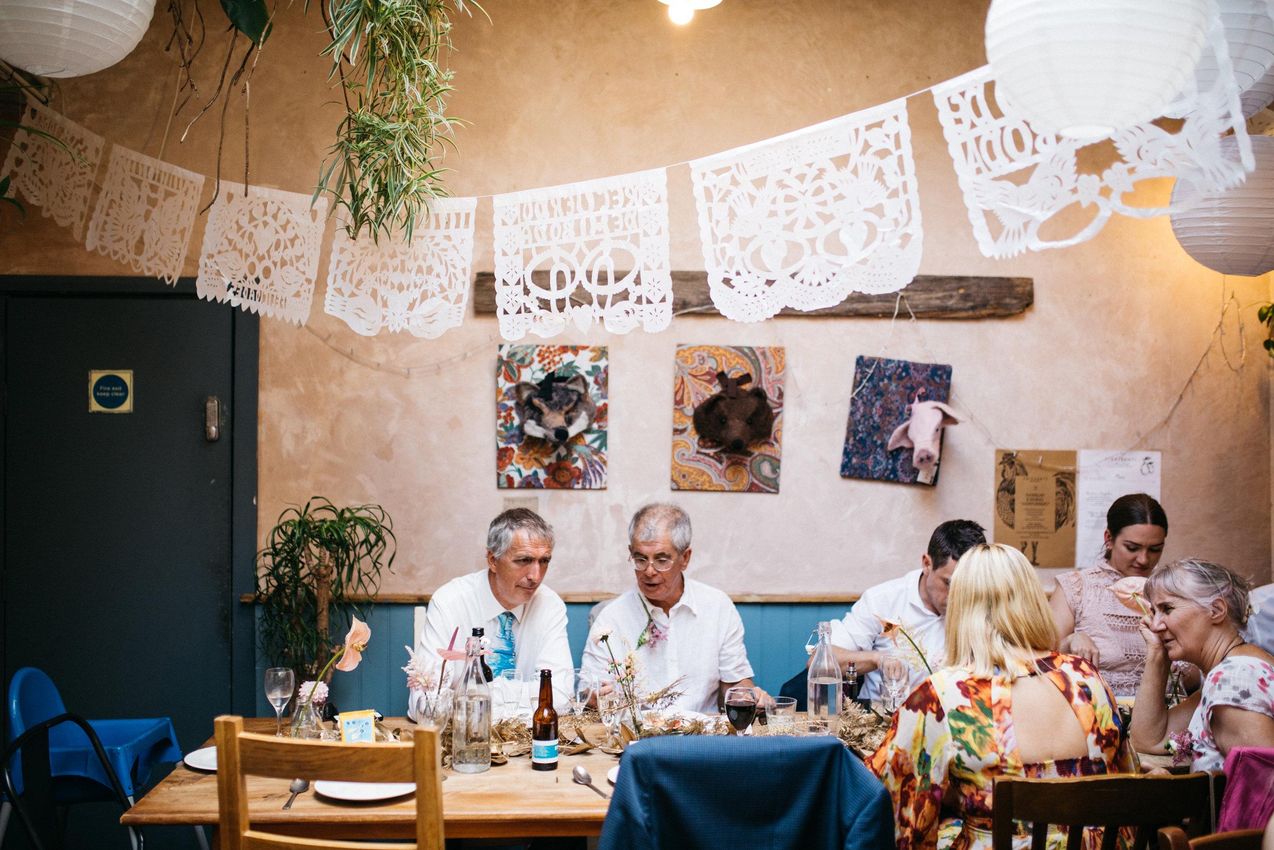 wedding guests at wedding feast