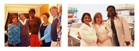 Mmes Verstraeten et Baele-Rémion, le Dr Baele avec les Drs Pimentel et Makambila, visite (à dte) à la Banque de Sang de Saint-Luc