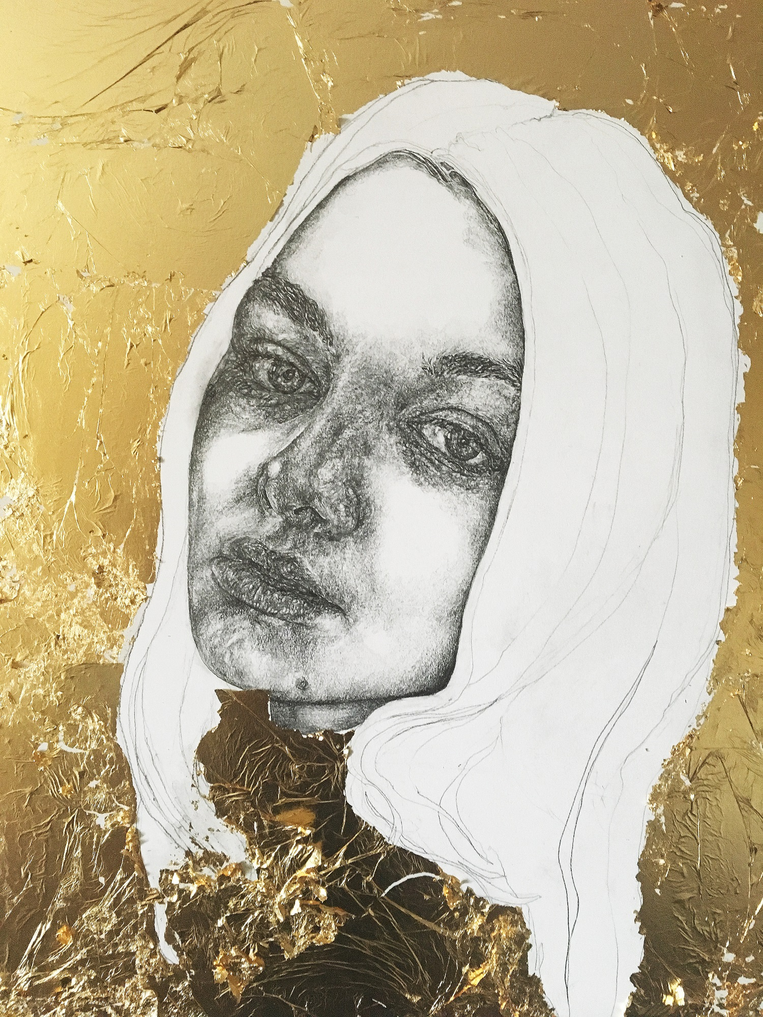 """The Gold Series - no.3"" - Pencil & gold leaf on board - 35 cm x 55 cm"