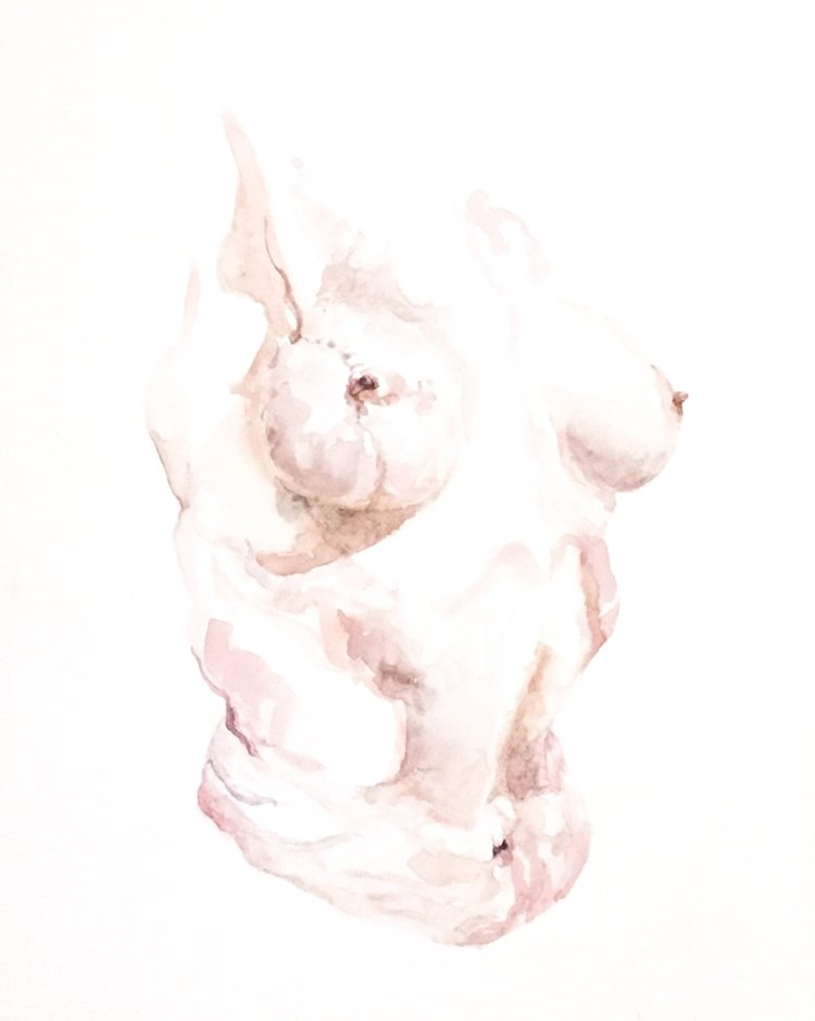 """Tickled Pink"" - Watercolour on board - 34 cm x 53 cm -  SOLD"