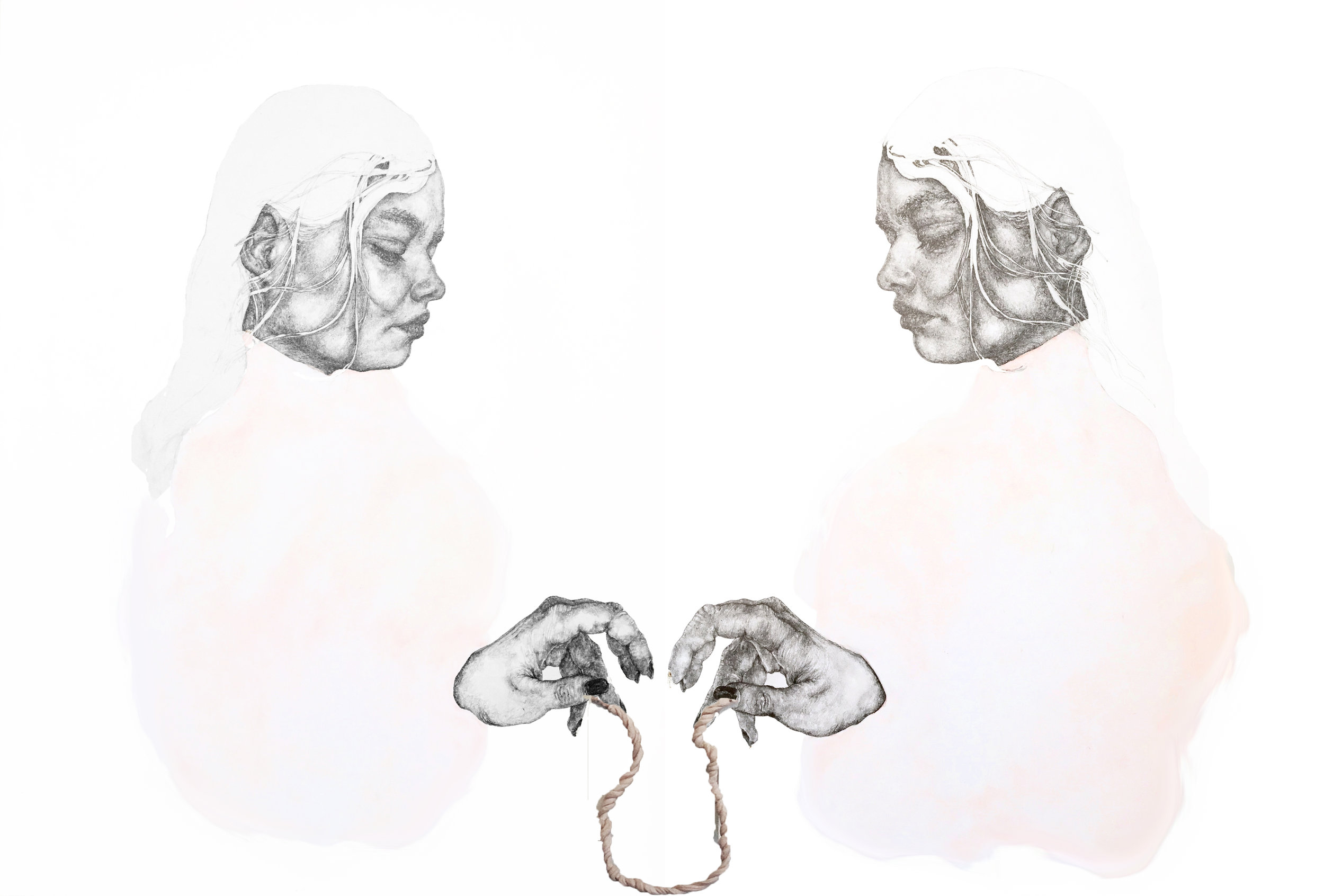 """Umbilical Twins"" - Pencil, watercolour and clay on board, framed diptych - 58 cm x 73 cm"