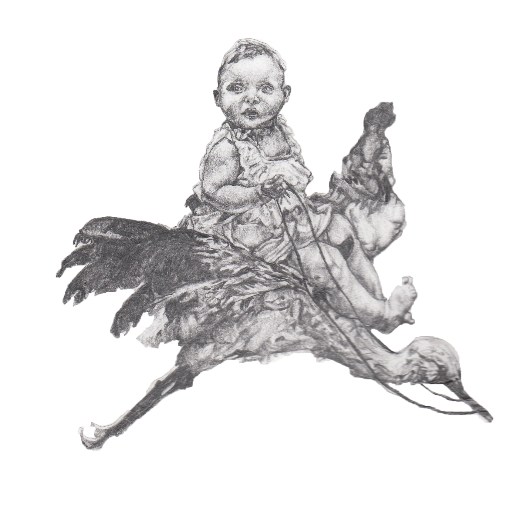 """It's A Baby On a Bird"" - Pencil on heavyweight paper - 20 cm x 30 cm"