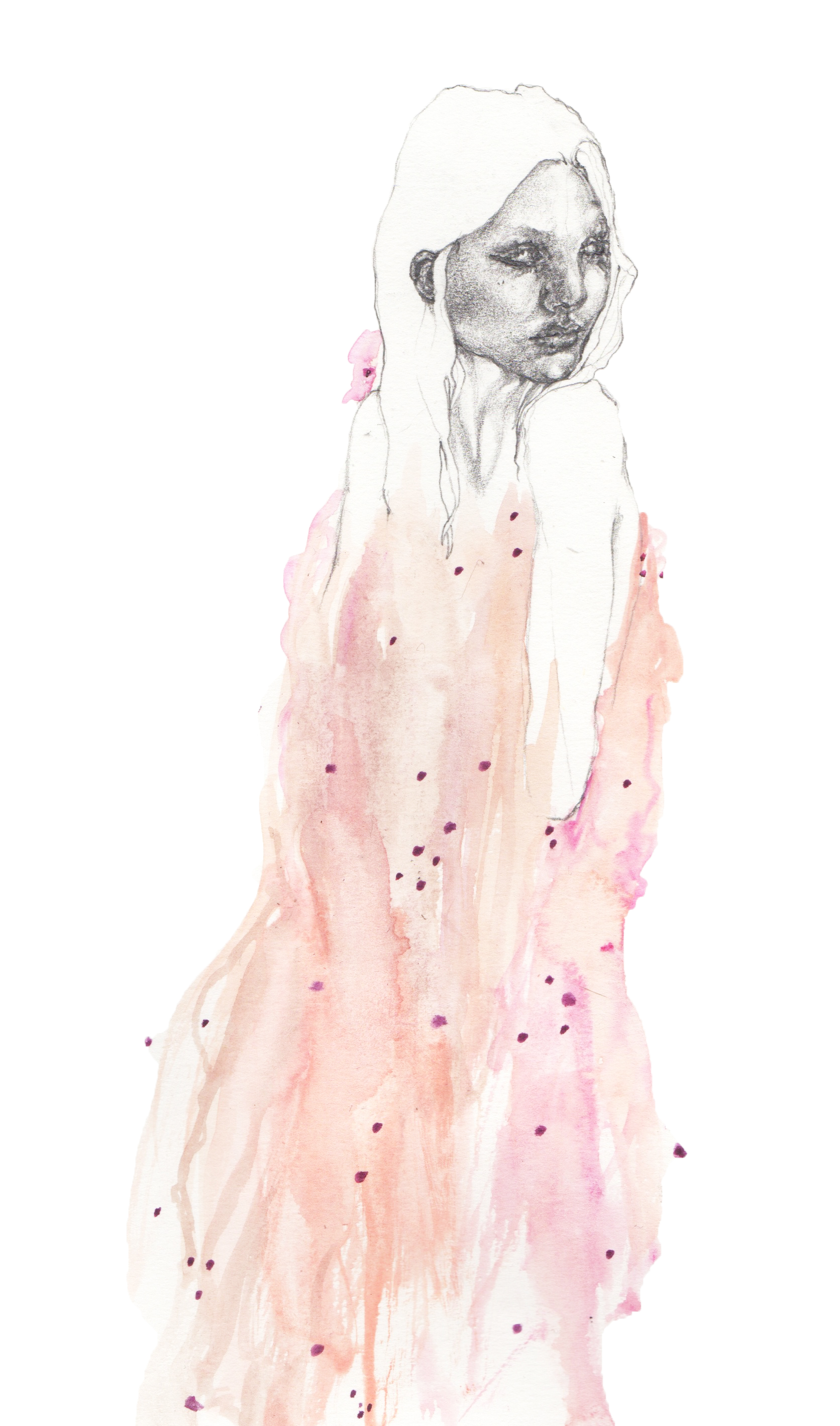 """Expressionistic Splatters of Love {Simone Rocha SS16}"" - Pencil & watercolour on heavyweight paper - 20 cm x 30 cm"