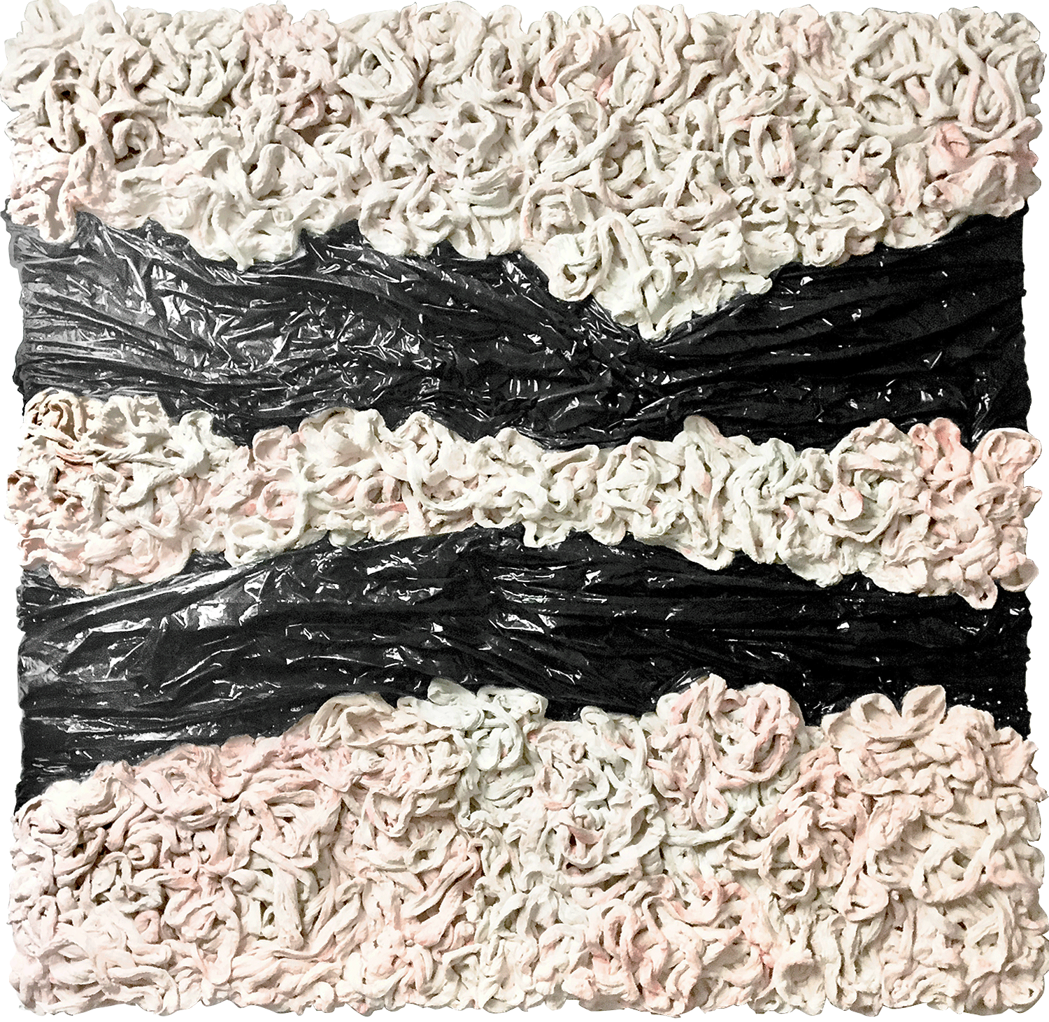 """Poison"" - Mixed media & bin bags on canvas - 100 cm x 100 cm"