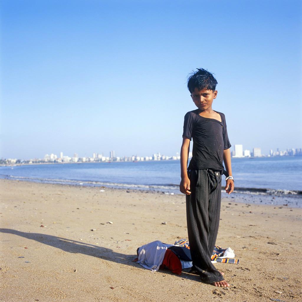 Abdulak sur la plage de Chowpatty