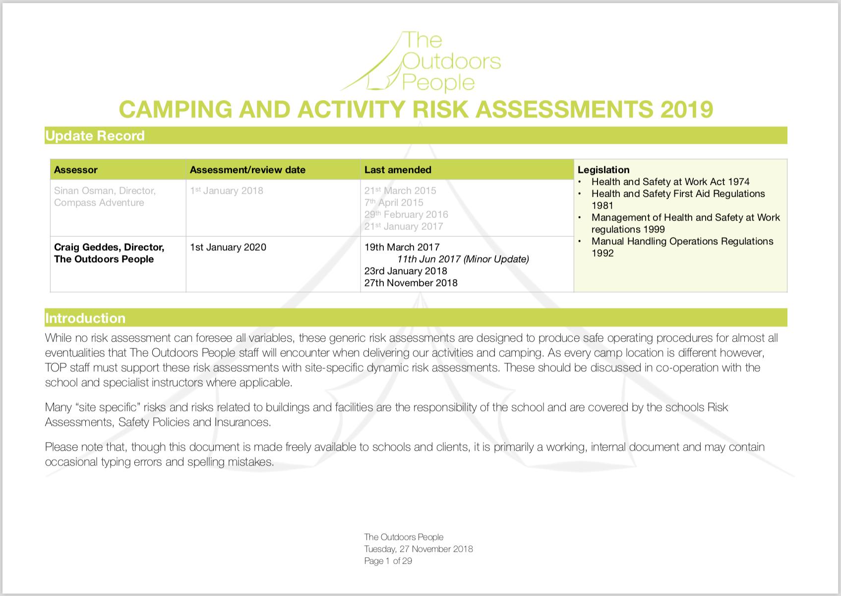 2019 School Camp Risk Assessment