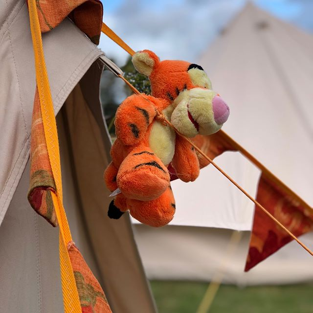 On todays #schoolcamp , the orange tent has been fittingly joined by Tigger @CroftPrepSchool #winniethepooh