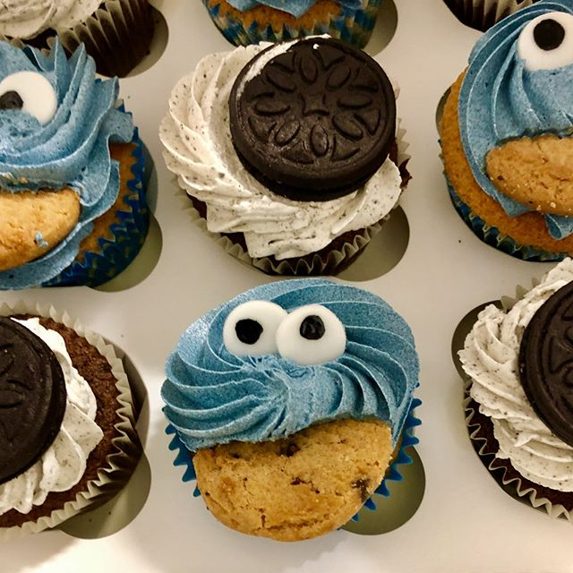Tonight on school camp with @LadywoodKH and Dalimore Primary, we have #cookiemonster cupcakes for one of our adventurers birthdays! @sesamestreet