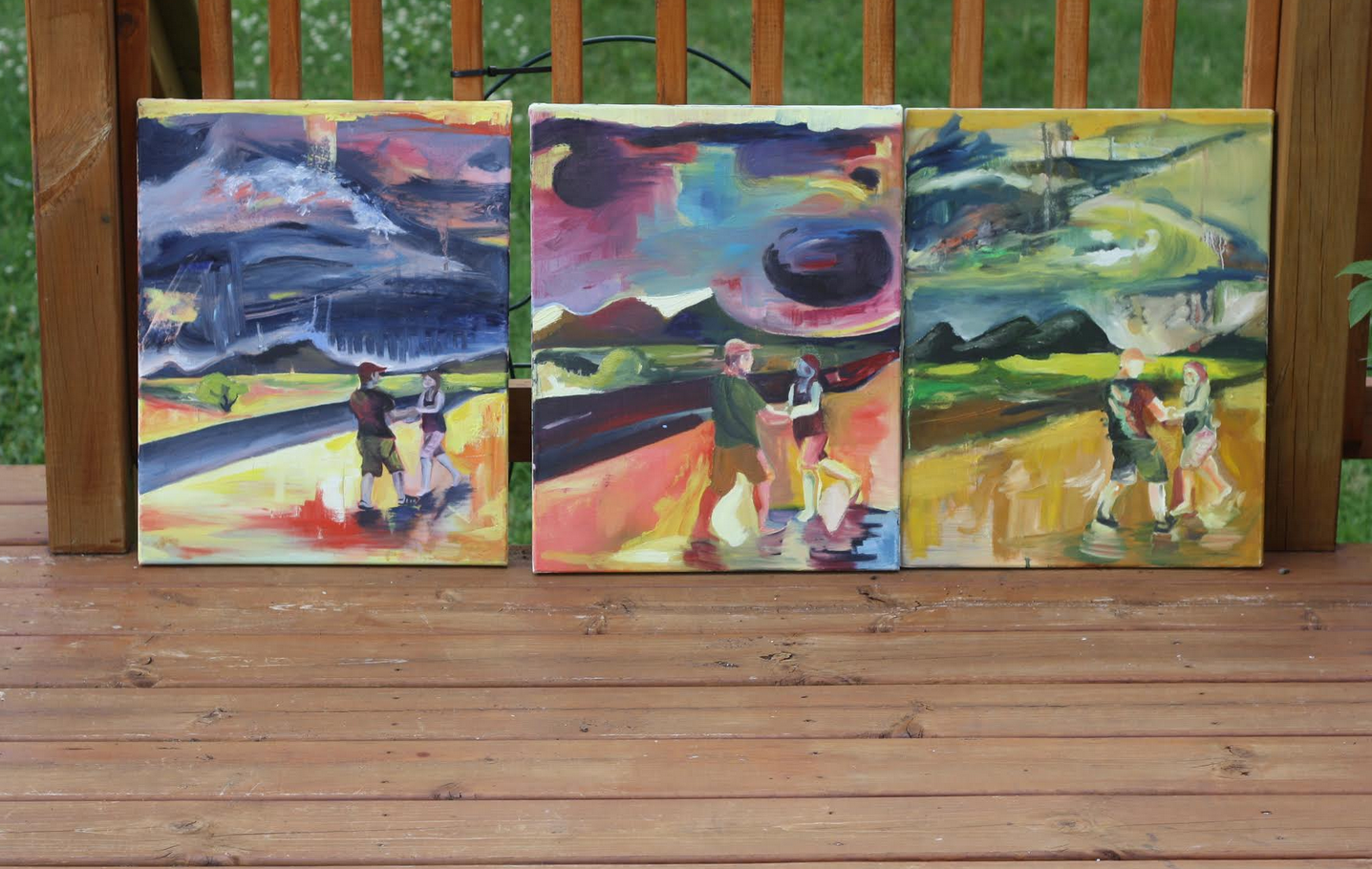 "dancing in the rain series, oil on canvas, 16"" by 20"", 2008, $45 each"