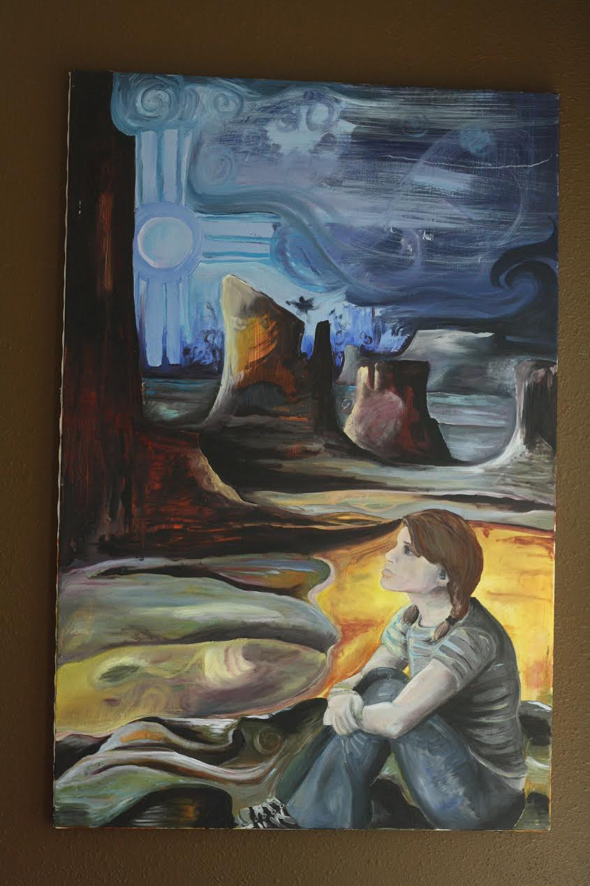 "desert girl, oil on canvas, 24"" by 36"", 2010, $200"
