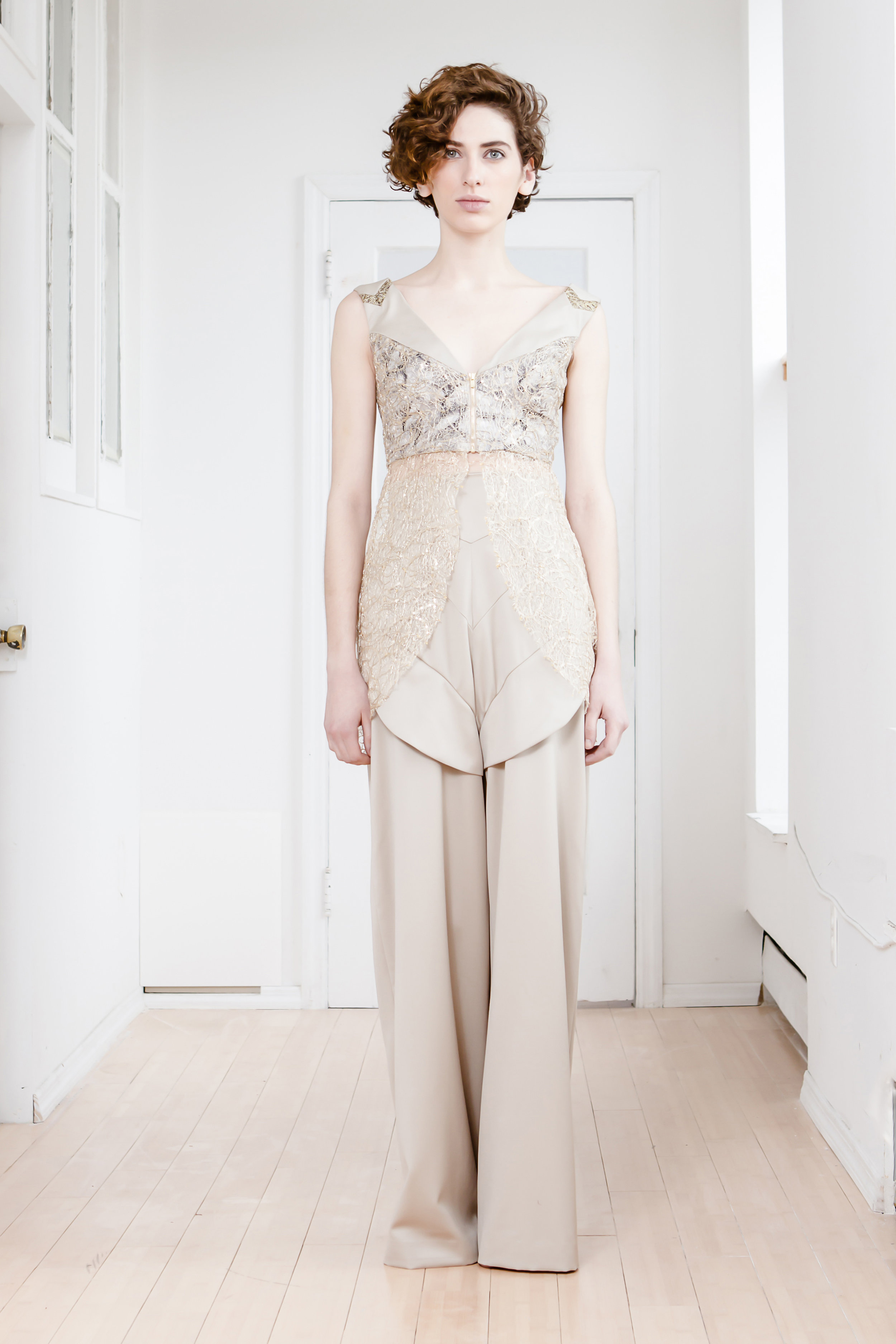 PI MUTE VEST AND PANTS  French grey silk, silk wool, and gold mesh. Price upon request.