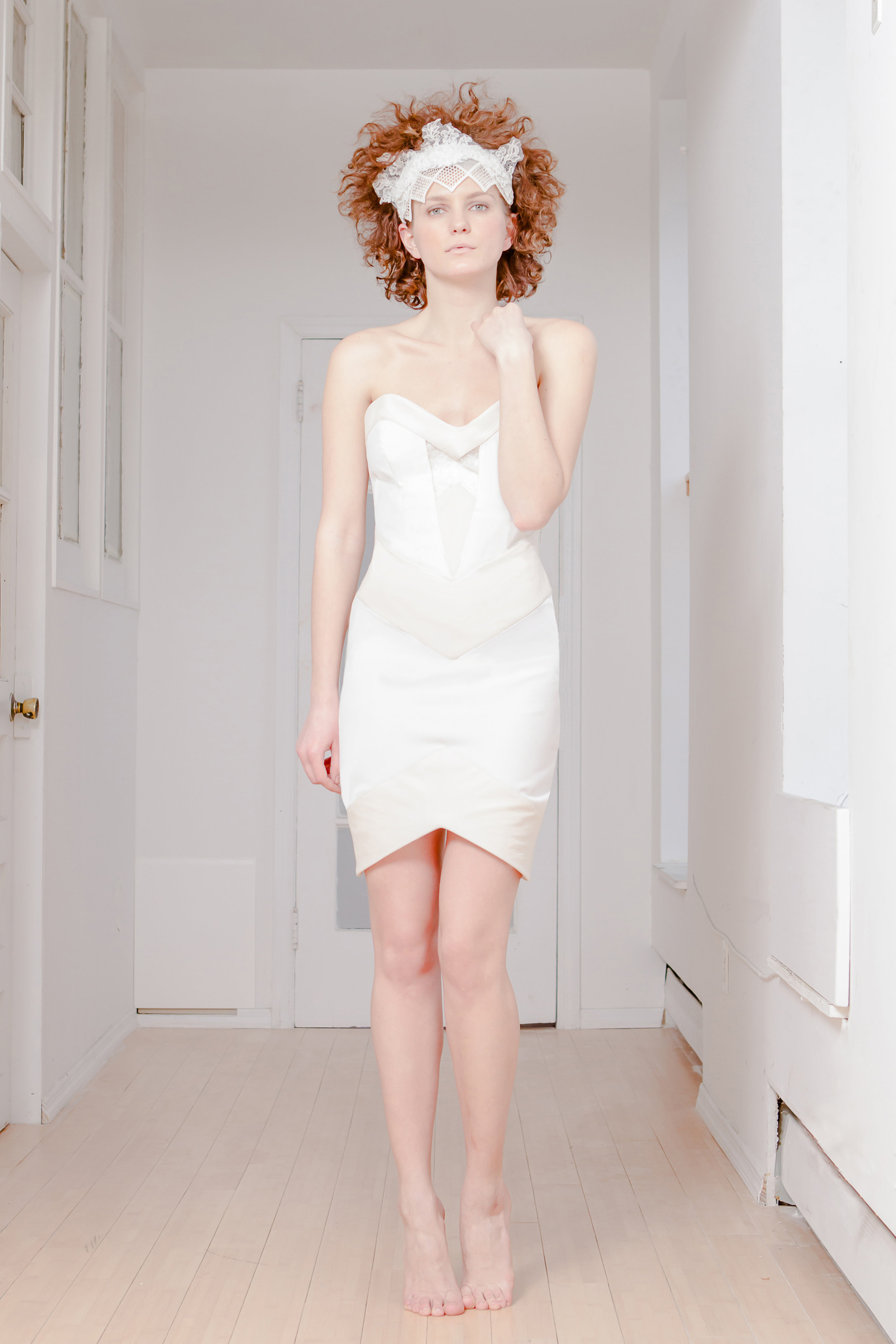 SNOW GEO DRESS  Ivory silk wool, leather, and clear mesh. Price upon request.