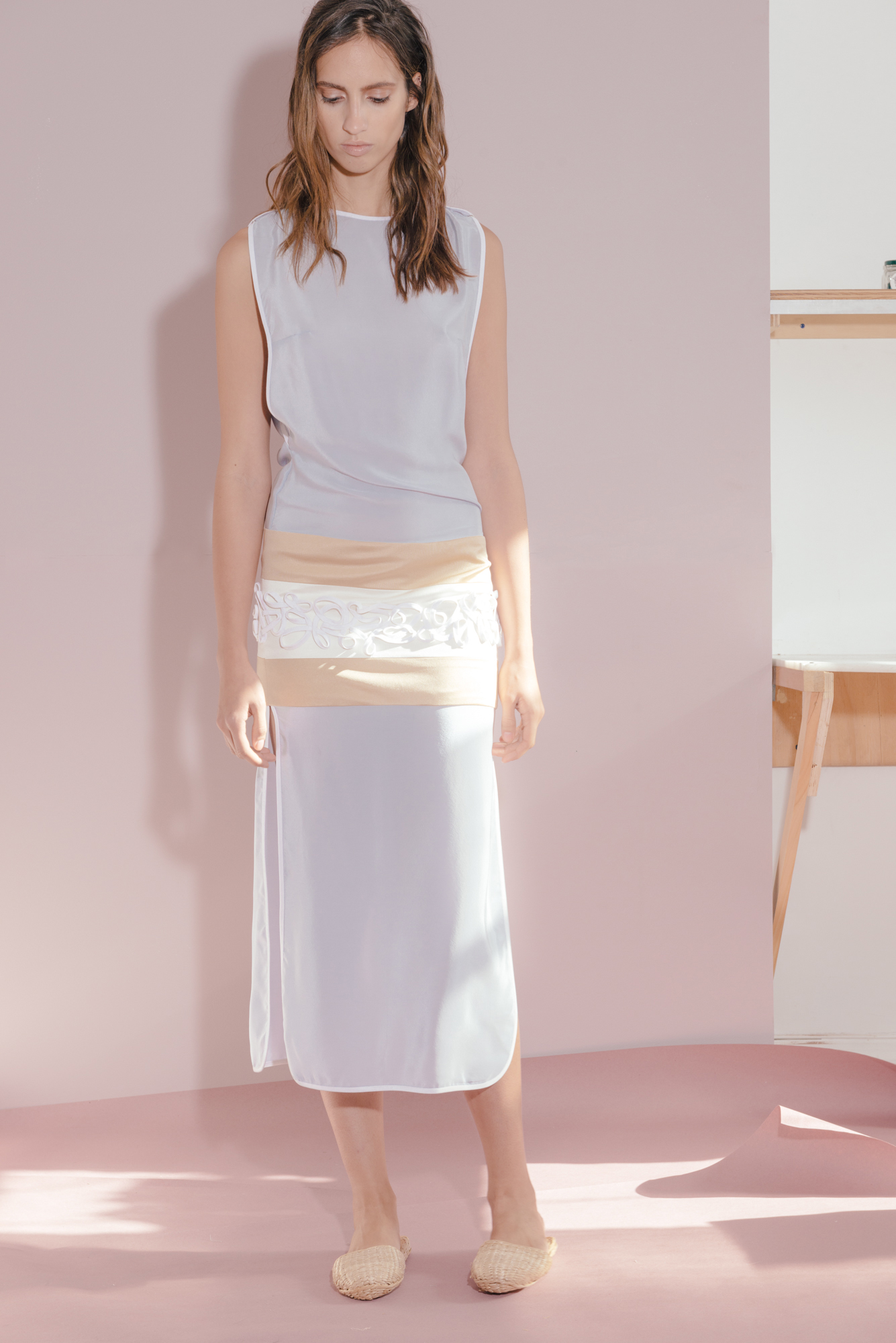 AGAVE COLUMN DRESS  Kyanite silk crepe and silk jersey. Price upon request.