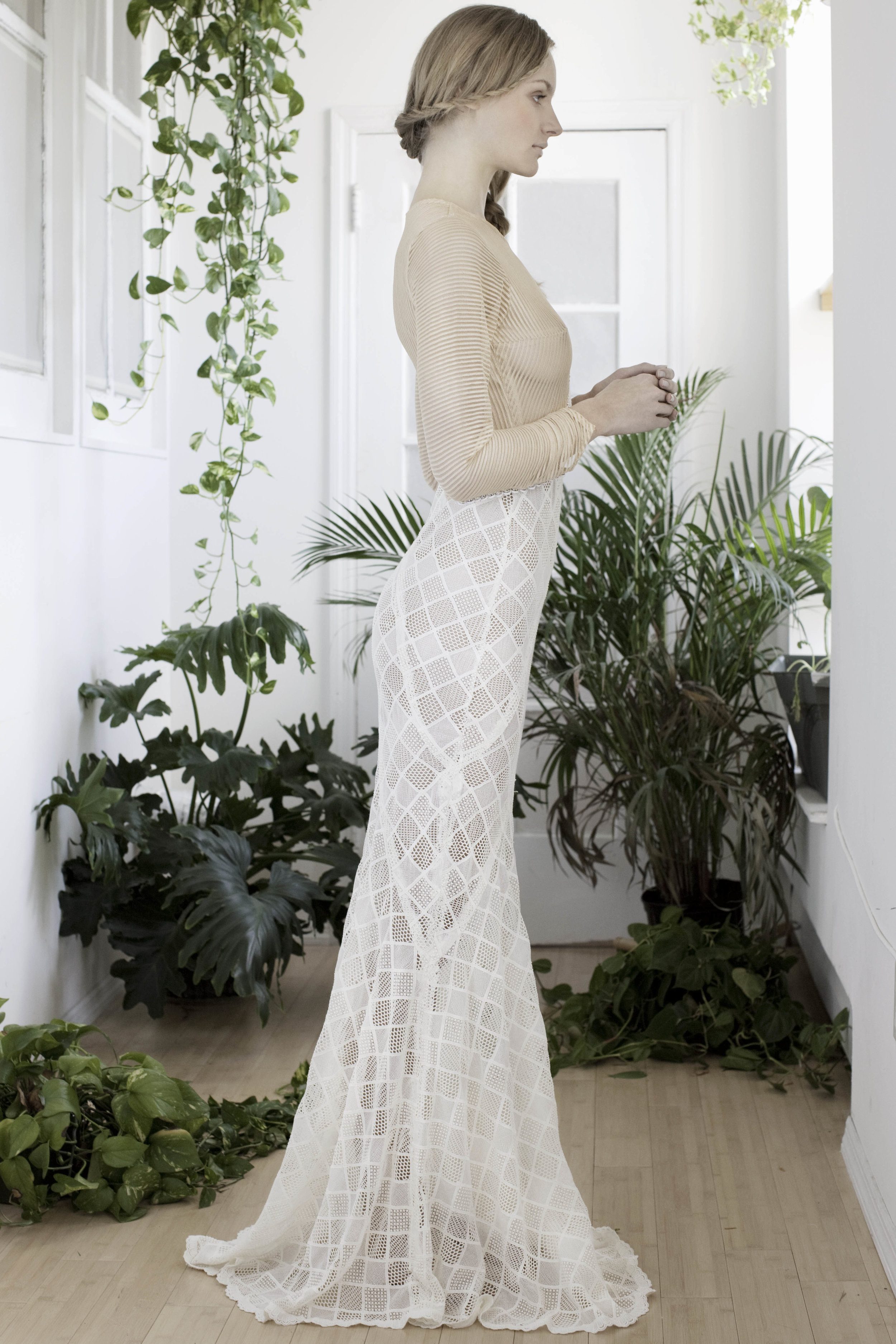 SIREN GOWN  Ivory geometric lace and nude striped lace. Price upon request.