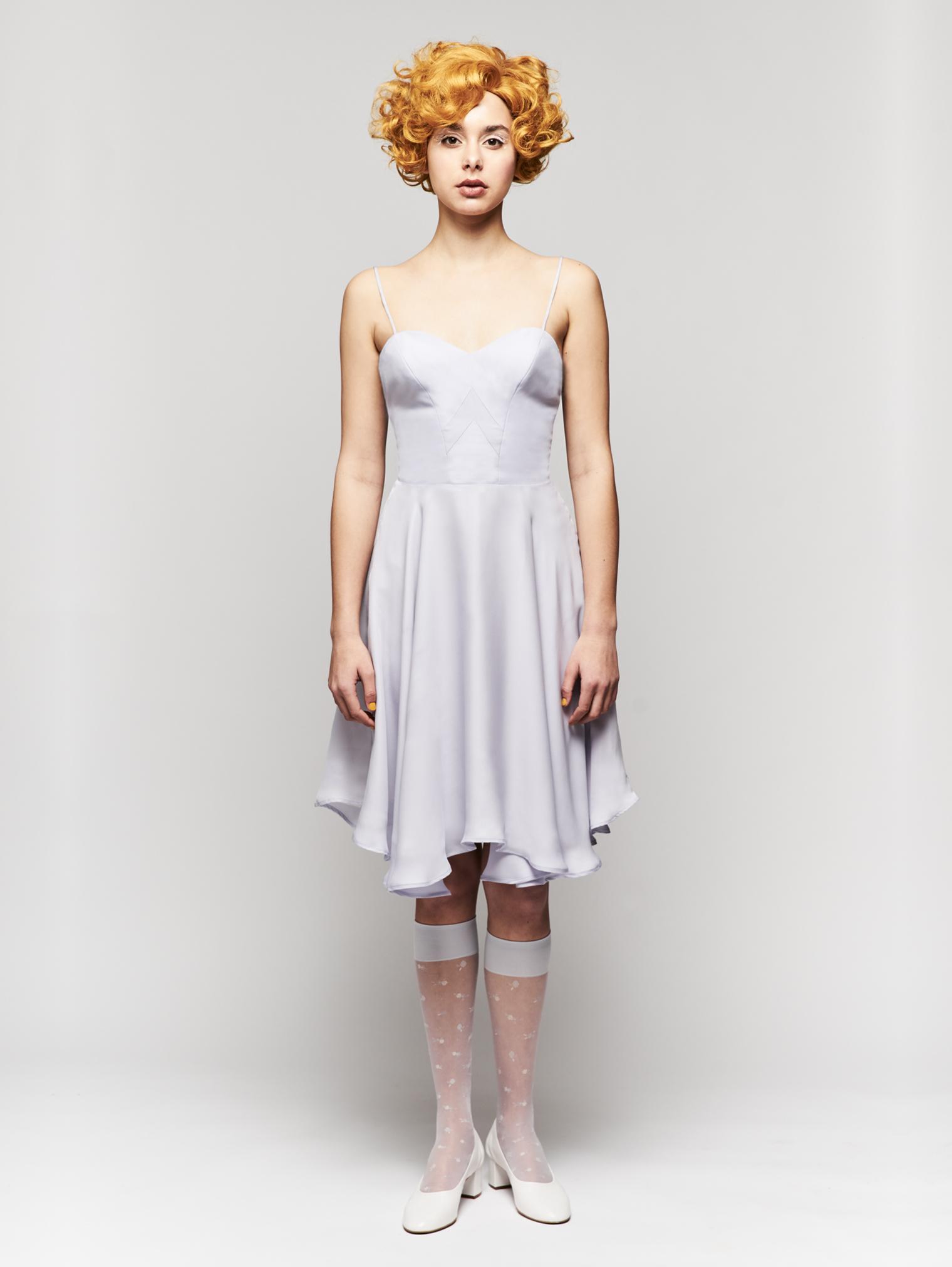 SIN BODICE DRESS  Spaghetti strap full circle lavender georgette dress. Price upon request.