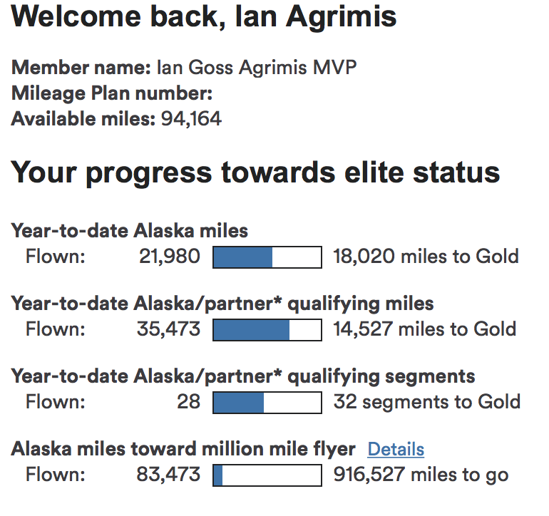 Here you can see the discrepancy between Elite miles and Award miles (at top)