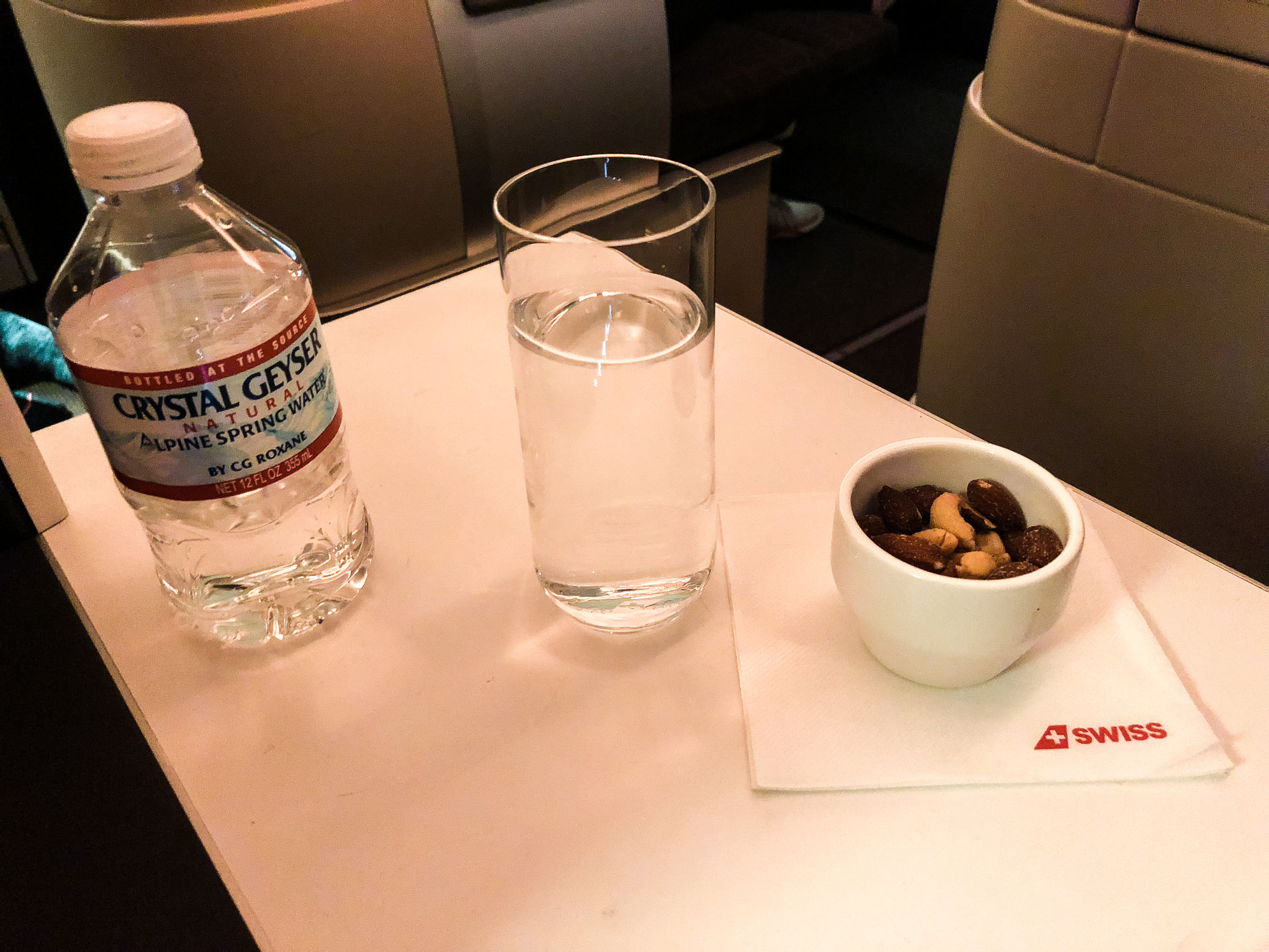 Swiss Business Class drink selection