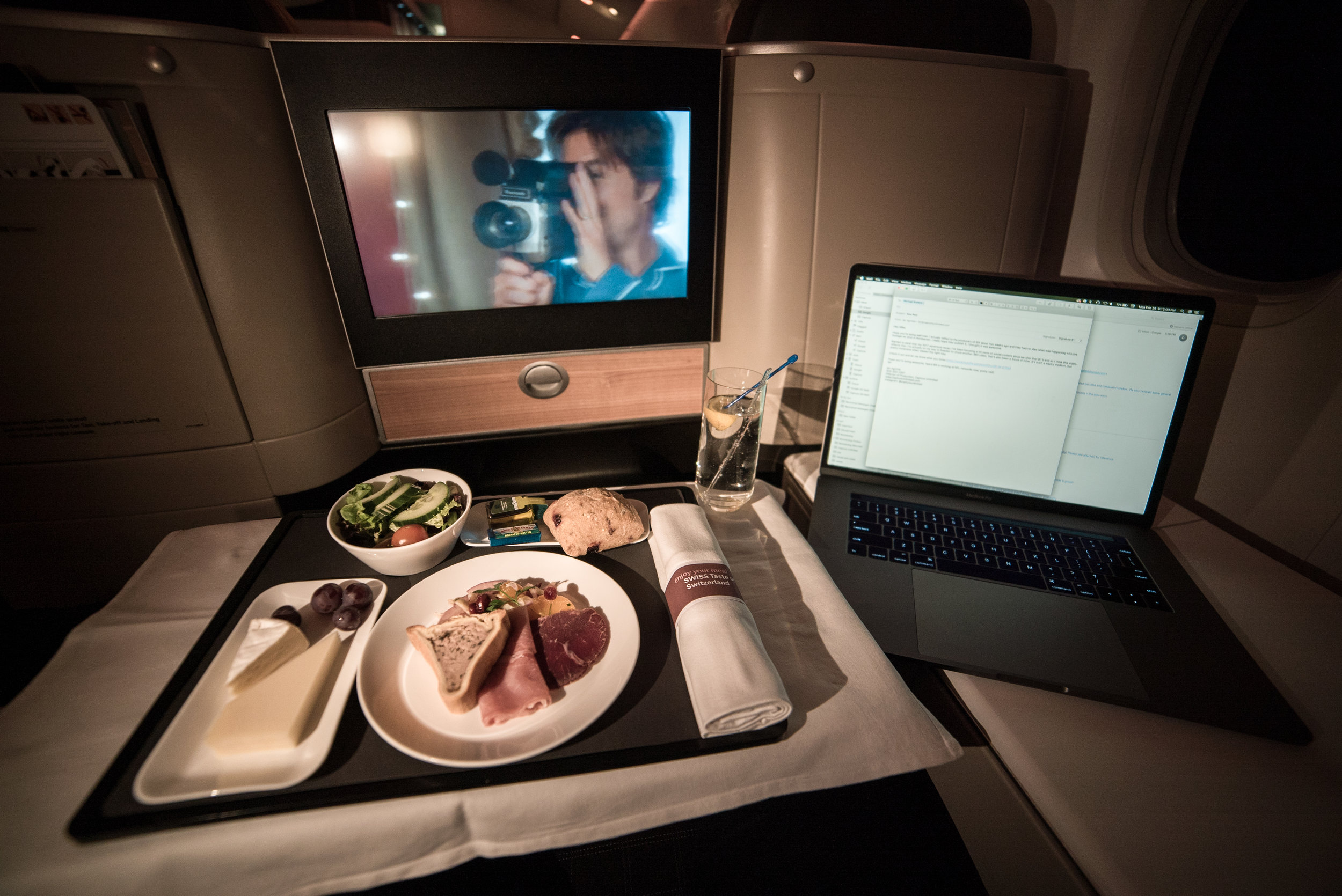 Swiss Business Class dinner